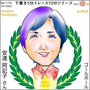 安達 阿記子選手似顔絵
