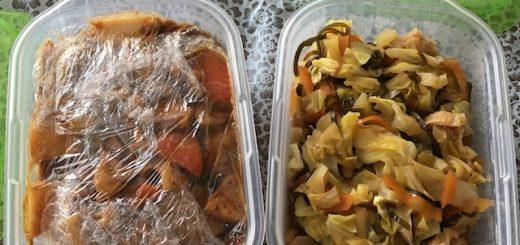 カレー風煮物とキャベツの煮浸し