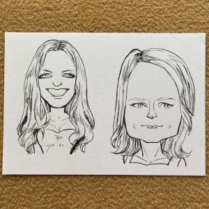 アン・アサウェイさんの似顔絵とジョディ・フォスターさんの似顔絵(着色前)