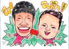 水谷選手と伊藤選手似顔絵